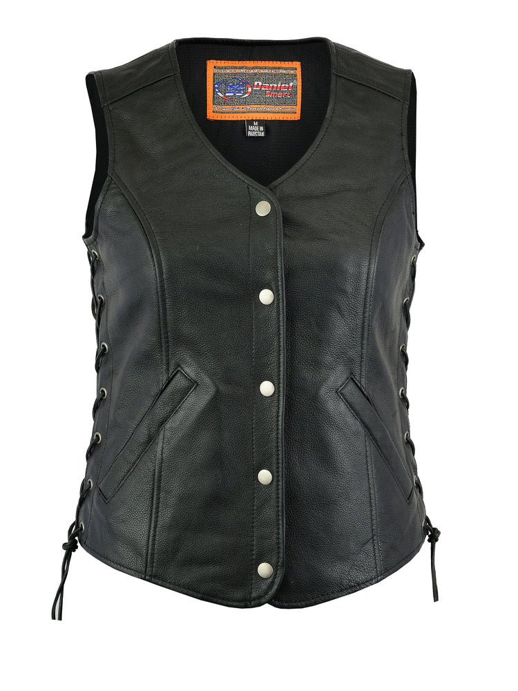 Daniel Smart - Women's Lightweight Snap Front Side Lace Vest - DS211 Women's Leather Vests Virginia City Motorcycle Company Apparel