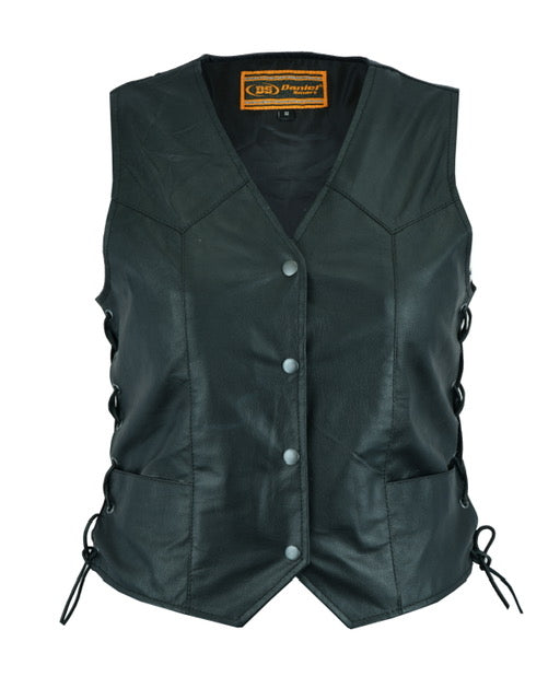 Daniel Smart - Women's Traditional Lightweight Leather Vest - DS209 Women's Leather Vests Virginia City Motorcycle Company Apparel
