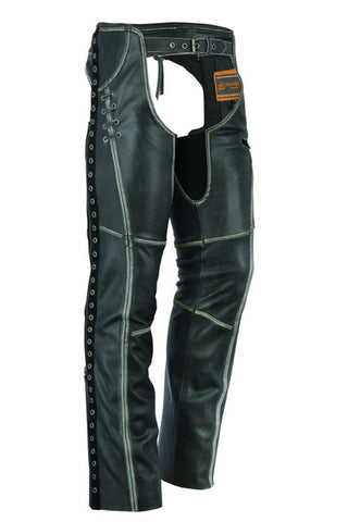 DS485V Women's Gray Stylish Lightweight Hip Set Chaps Chaps Virginia City Motorcycle Company Apparel
