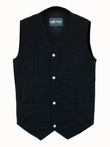 Daniel Smart -Men's Traditional Denim Vest with Plain Sides - DM910 Men's Denim Vests Virginia City Motorcycle Company Apparel