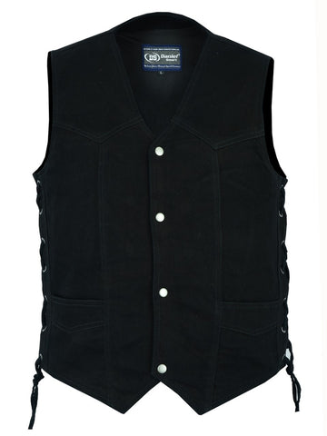 Daniel Smart -Men's Traditional Denim Vest with Side Laces - DM911 Men's Denim Vests Virginia City Motorcycle Company Apparel