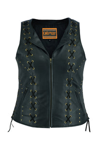 Daniel Smart - Women's Zippered Vest with Lacing Details - DS233 Women's Leather Vests Virginia City Motorcycle Company Apparel