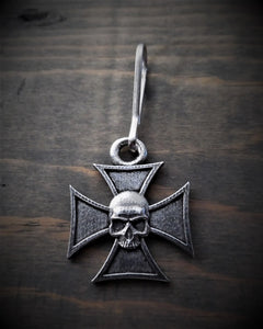 BZP-32 Maltese Cross Skull Zipper Pull Zipper Pulls Virginia City Motorcycle Company Apparel