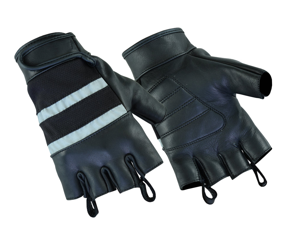 Traditional Fingerless Glove / Reflective Stripe - DS15 Gloves Virginia City Motorcycle Company Apparel