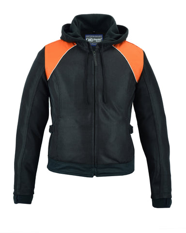 Women's Mesh 3-in-1 Riding Jacket (Black/Orange) - DS827 Women's Jackets Virginia City Motorcycle Company Apparel