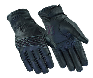 Women's Cruiser Gloves / Black Leather / Purple Stitching - DS2425 Gloves Virginia City Motorcycle Company Apparel
