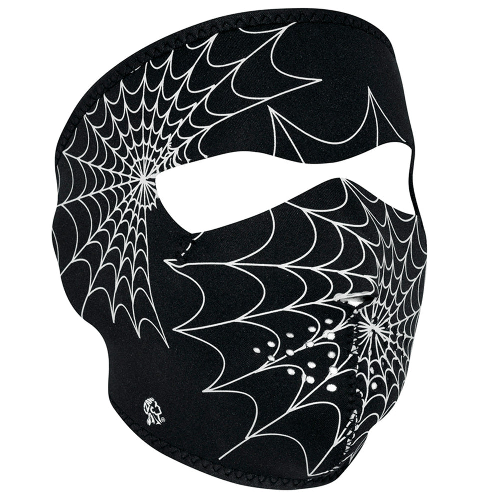 ZAN® Full Mask- Neoprene- Spider Web, Glow in the Dark - WNFM057G Full Facemasks Virginia City Motorcycle Company Apparel