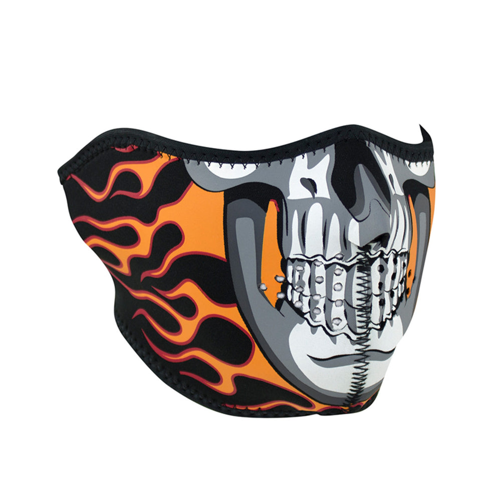 ZAN® Half Mask- Neoprene- Burning Skull - WNFM061H Half Facemasks Virginia City Motorcycle Company Apparel