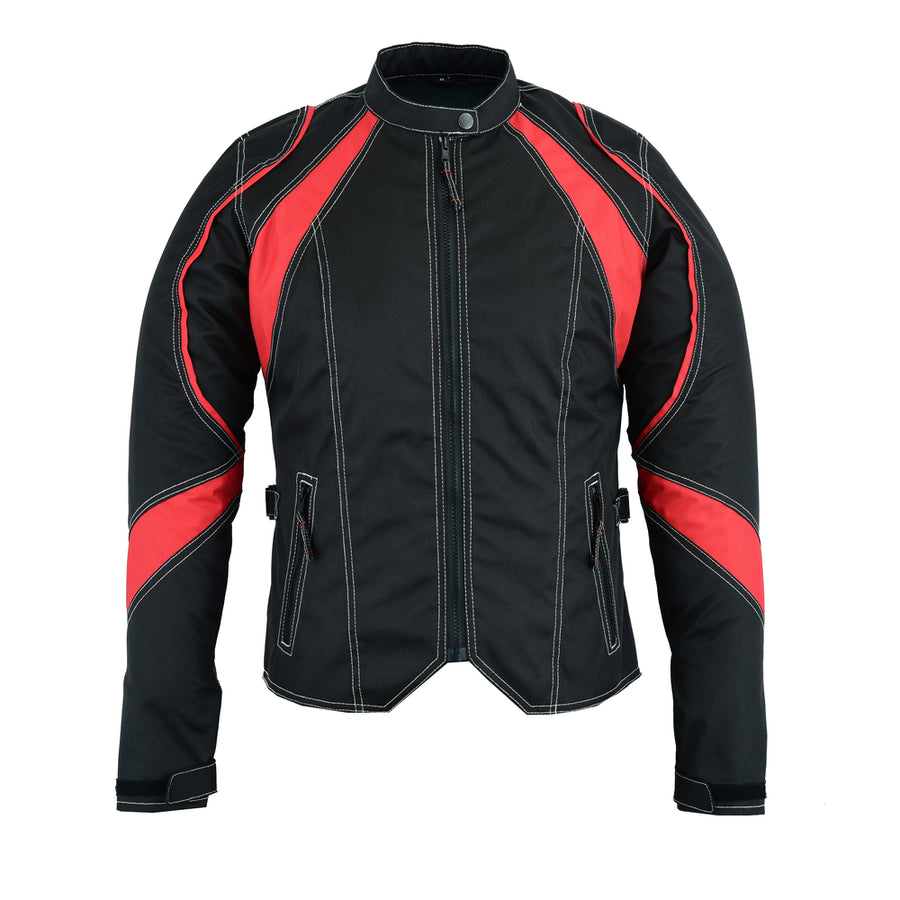 Women's Embroidered Crown Riding Jacket - Red - DS826RD Women's Jackets Virginia City Motorcycle Company Apparel