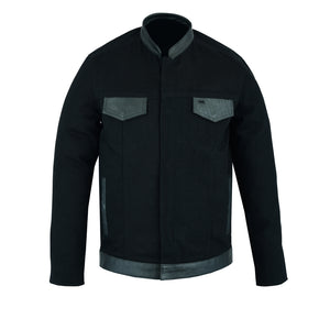 DS988 Men's Full Cut Denim Shirt W/Leather Trim Men's Jackets Virginia City Motorcycle Company Apparel