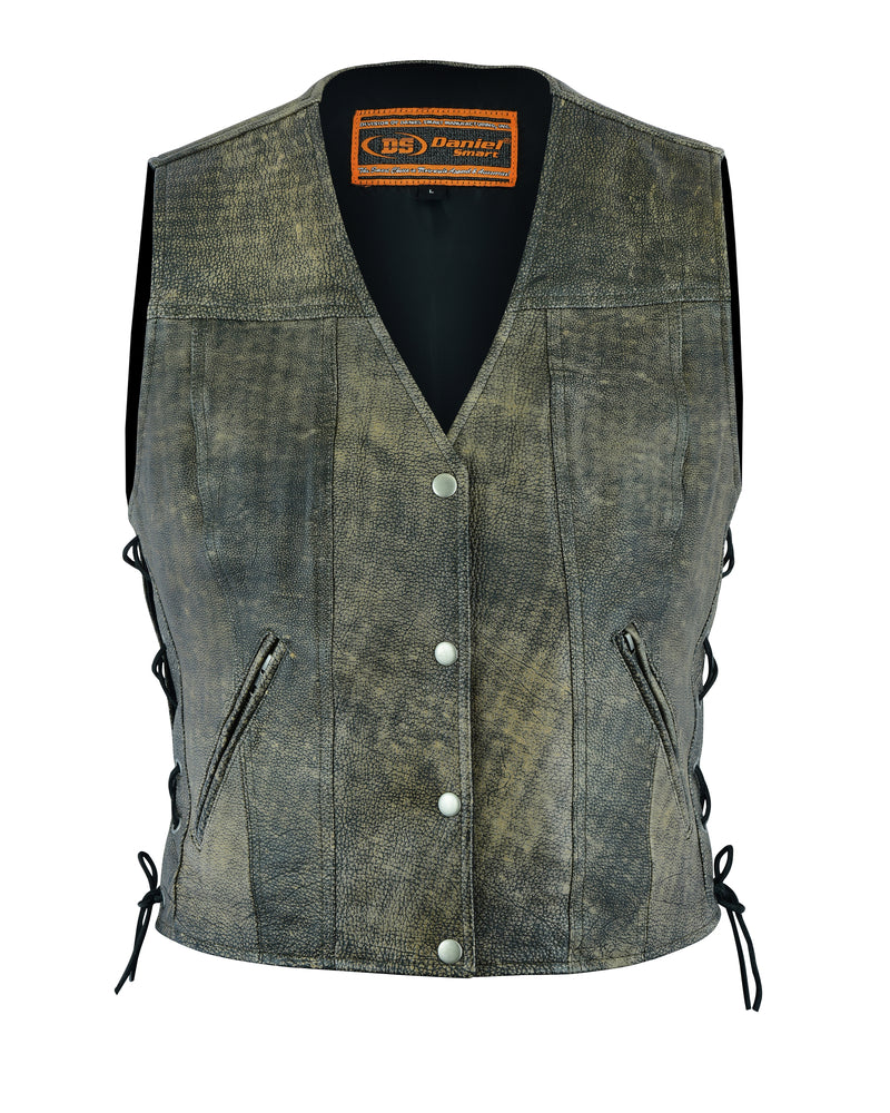 Daniel Smart - Women's Antique Brown Single Back Panel Concealed Carry Vest - DS207 Women's Leather Vests Virginia City Motorcycle Company Apparel