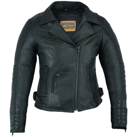 DS802   Must Ride - Ladies Black Leather Jacket Women's Jackets Virginia City Motorcycle Company Apparel