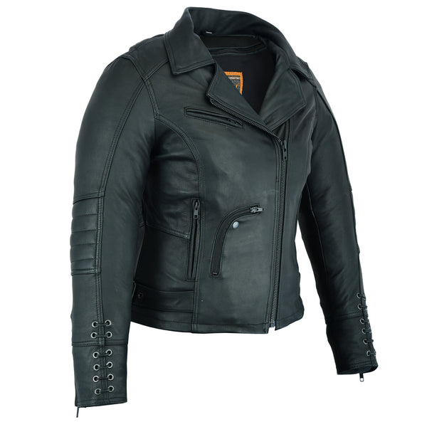 Must Ride - Ladies Black Leather Jacket - DS802 Women's Jackets Virginia City Motorcycle Company Apparel