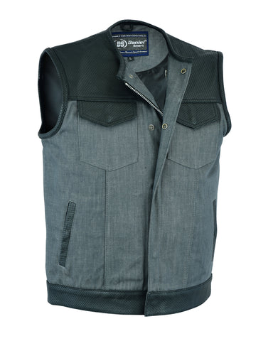 Daniel Smart -Men's Perforated Leather/Denim Combo Vest (Black/ Ash Gray) - DM934 Men's Denim Vests Virginia City Motorcycle Company Apparel