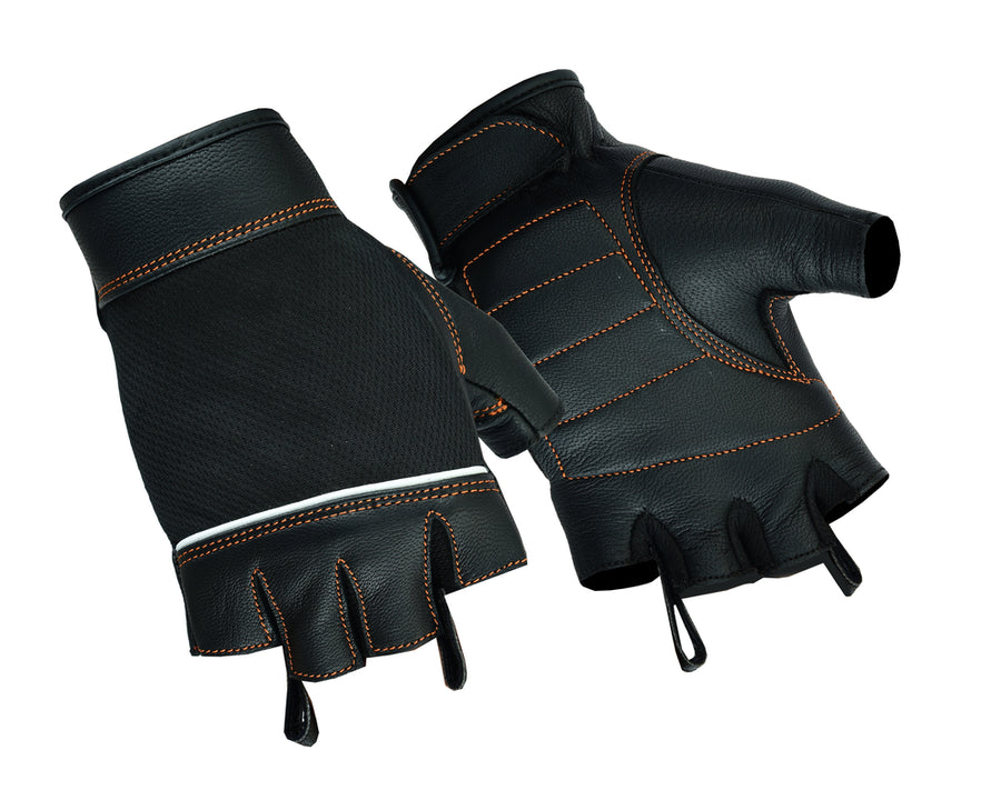 Women's Fingerless Glove / Black Leather / Orange Stitching - DS2429 Gloves Virginia City Motorcycle Company Apparel