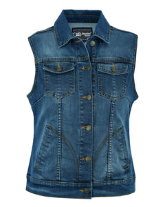 Daniel Smart - Women's Blue Denim Snap Front Vest - DS943 Women's Denim Vests Virginia City Motorcycle Company Apparel