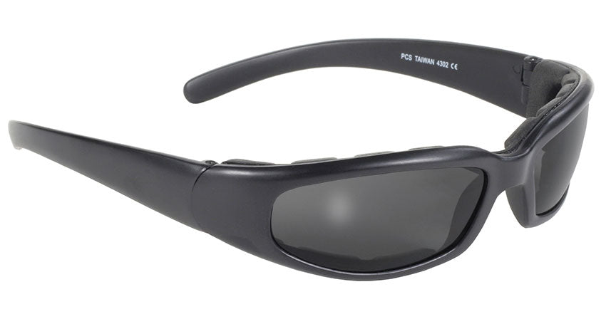 Rally Wrap Padded Black Frame/Smoke Lens Sunglasses - 4302 Sunglasses Virginia City Motorcycle Company Apparel