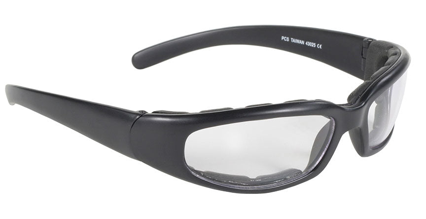 Rally Wrap Padded Black Frame/Clear Lens Sunglasses - 43025 Sunglasses Virginia City Motorcycle Company Apparel