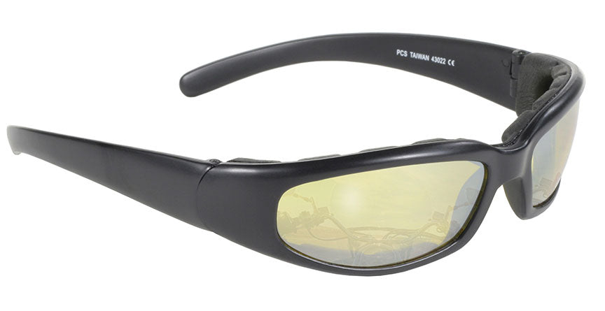 Rally Wrap Padded Black Frame/Yellow Lens Sunglasses - 43022 Sunglasses Virginia City Motorcycle Company Apparel