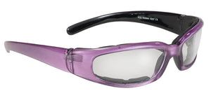 Rally Wrap Padded Black Frame/Purple Pearl/Clear Lens Sunglasses  43027 Sunglasses Virginia City Motorcycle Company Apparel