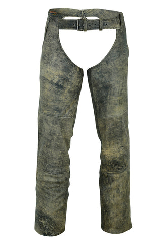 DS439 Unisex Double Deep Pocket Thermal Lined Chaps- Antique Brown Chaps Virginia City Motorcycle Company Apparel
