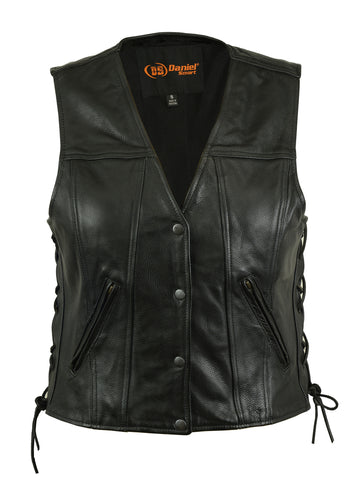 Her Miles  - Women's Conceal Carry Single Back Panel Leather Vest - DS203 Women's Leather Vests Virginia City Motorcycle Company Apparel