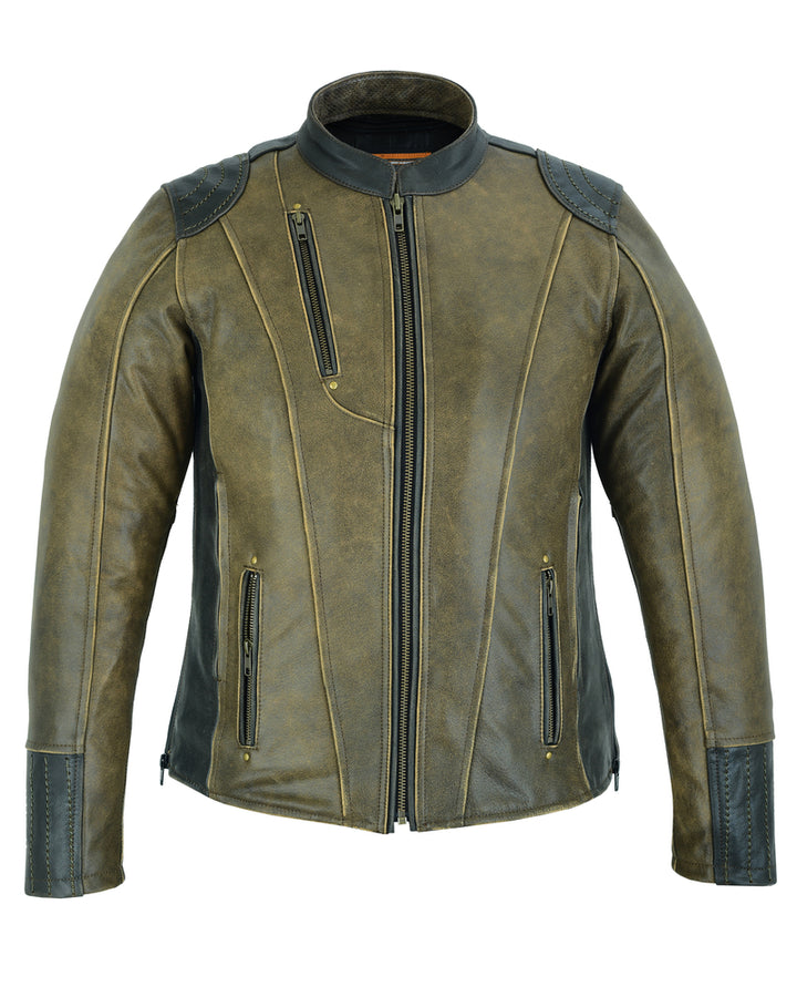 Women's Conceal Carry Vintage Leather Jacket - DS830 Women's Jackets Virginia City Motorcycle Company Apparel