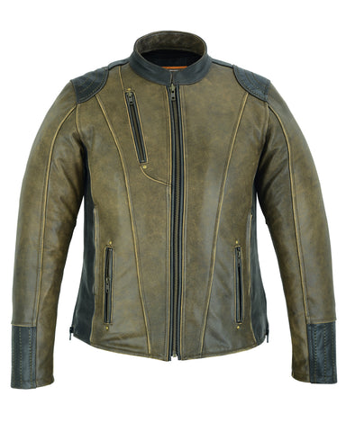 DS830 Women's Conceal Carry Vintage Leather Jacket Women's Jackets Virginia City Motorcycle Company Apparel
