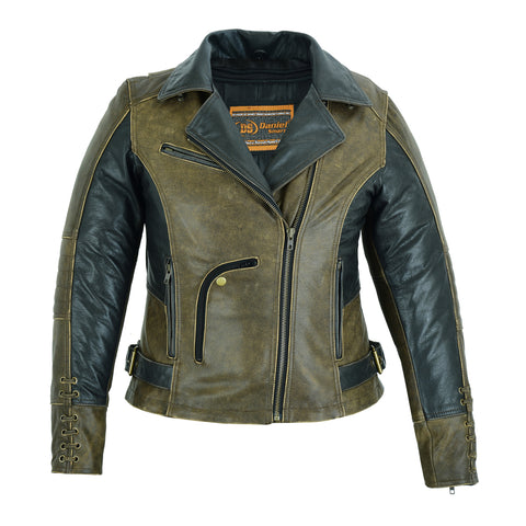 Must Ride - Ladies Two Tone Leather Jacket - DS898 Women's Jackets Virginia City Motorcycle Company Apparel