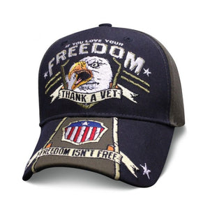 Screaming Eagle Thank A Vet for Your Freedoms - Blue and Grey ballcap Hat - SEAGTV Hats Virginia City Motorcycle Company Apparel