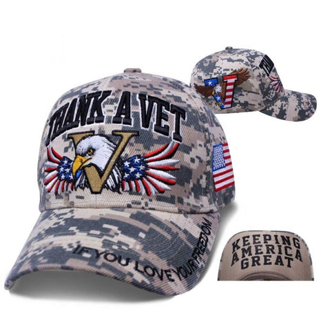 Thank A Vet Motto Digital Camo Ball Cap Hat - SDPMTV Hats Virginia City Motorcycle Company Apparel