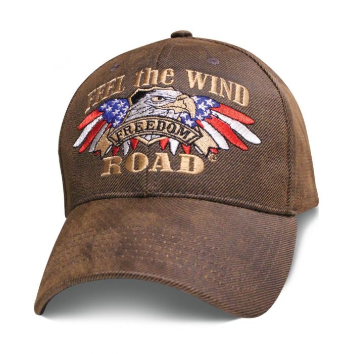 Feel The Wind on Freedom Road Biker Oilskin Hat - SBFTWO Hats Virginia City Motorcycle Company Apparel