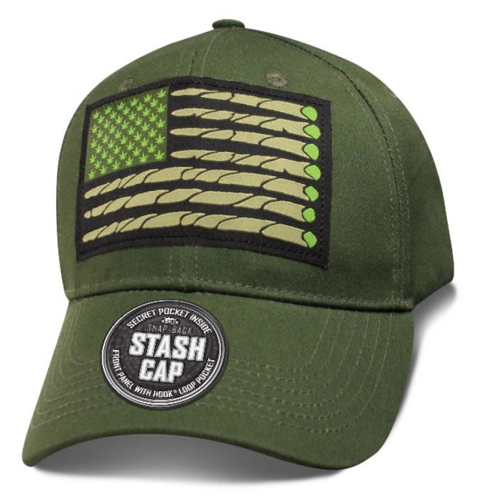Marijuana Cigarette USA Flag Stash Cap Hat - SHCOMH Hats Virginia City Motorcycle Company Apparel