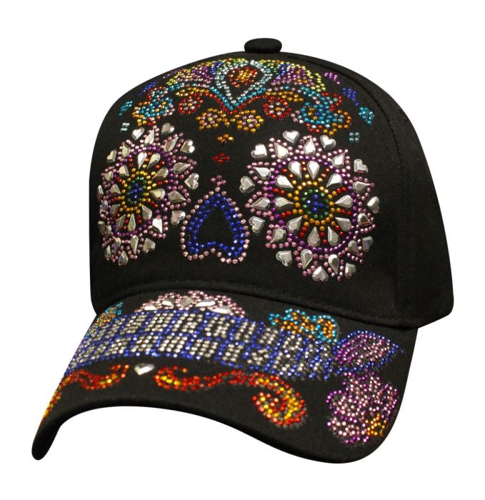 Ladies Sugar Skull Bling Ball Cap Hat -  SBLSUSK Hats Virginia City Motorcycle Company Apparel