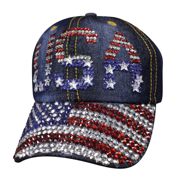 Ladies Denim USA Bling Ball Cap Hat - SBLUSF Hats Virginia City Motorcycle Company Apparel
