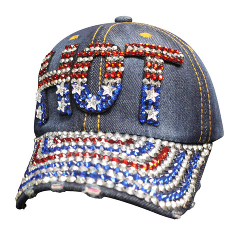 Ladies HOT Denim Bling American Ball Cap Hat - SBLAMH Hats Virginia City Motorcycle Company Apparel