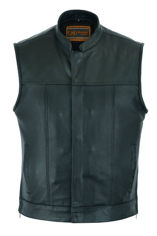 Daniel Smart - Men's Double Crosser Leather Scoop Collar Concealment Vest - DS171 Men's Leather Vests Virginia City Motorcycle Company Apparel