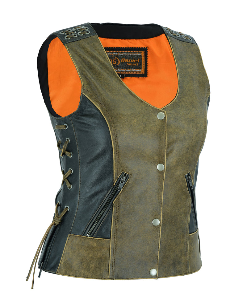 Women's Vest with Grommet and Lacing Accents - Two Tone - DS298 Women's Leather Vests Virginia City Motorcycle Company Apparel