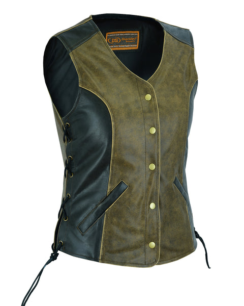 Women's Stylish Longer Body 3/4 Vest - Side Laces - Two Tone - DS214 Women's Leather Vests Virginia City Motorcycle Company Apparel