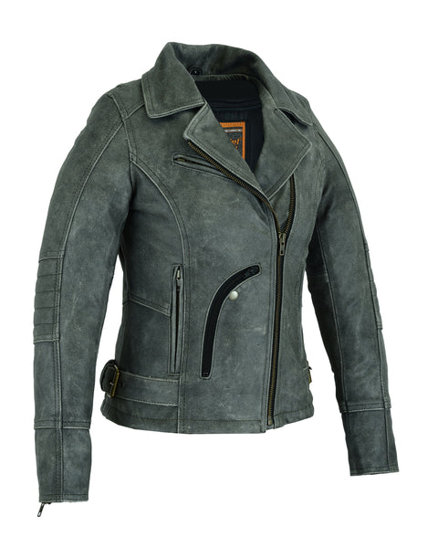Must Ride - Women's Gray Leather Motorcycle Jacket - DS809 Women's Jackets Virginia City Motorcycle Company Apparel