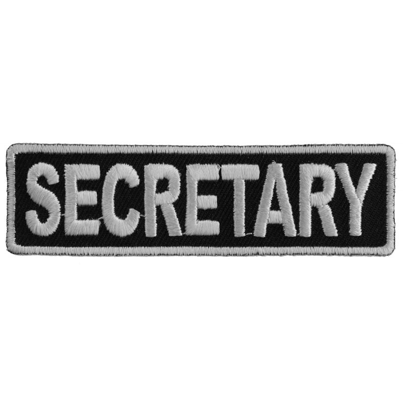 Patch | Secretary Patch 3.5 Inch White | P3711 Patches Virginia City Motorcycle Company Apparel