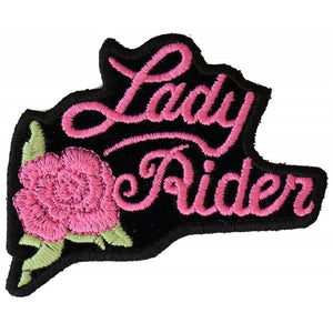 Patch | Pink Lady Rider w/ Rose | P2526PINK Patches Virginia City Motorcycle Company Apparel