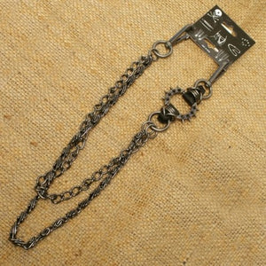 Wallet Chain - Spiked Ring Antiqued Bronze Double Chain - WA-WC7030 Jewelry Virginia City Motorcycle Company Apparel