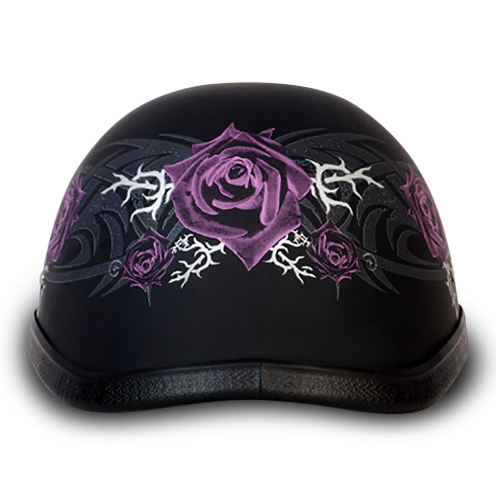 Novelty Helmet EAGLE- W/ PURPLE ROSE Non-DOT - 6002PR 1/2 Shell Helmets Virginia City Motorcycle Company Apparel