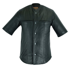 Leather Baseball Motorcycle Shirt - DS775 Men's Jackets Virginia City Motorcycle Company Apparel