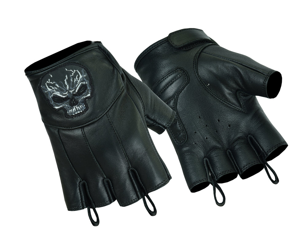 Reflective Skull Fingerless Leather Gloves - DS98 Gloves Virginia City Motorcycle Company Apparel