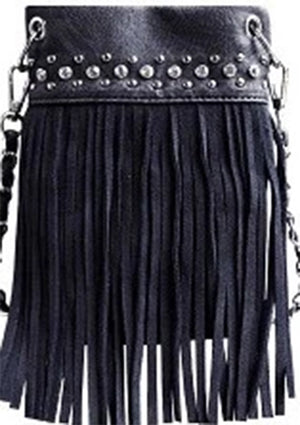 Chic Bag Crossbody Handbag - Top Bling FRINGE - CHIC415-BLK Bags & Wallets Virginia City Motorcycle Company Apparel