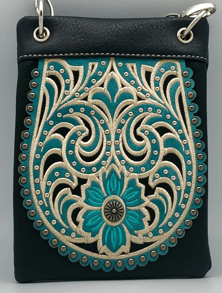 Chic Bag Crossbody Handbag - Western floral design - CHIC127-BLK Bags & Wallets Virginia City Motorcycle Company Apparel