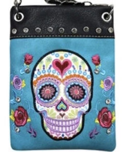 Chic Bag Crossbody Handbag - Sugar Skull on Turquoise - CHIC902-TRQ Bags & Wallets Virginia City Motorcycle Company Apparel