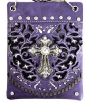 Chic Bag Crossbody Handbag - Cross design in purple -CHIC189-PRPL Bags & Wallets Virginia City Motorcycle Company Apparel